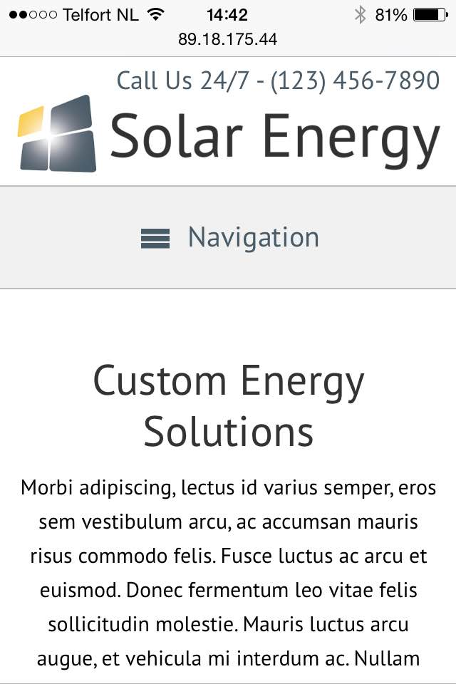 mobile phone screenshot Solar Energy WordPress Theme