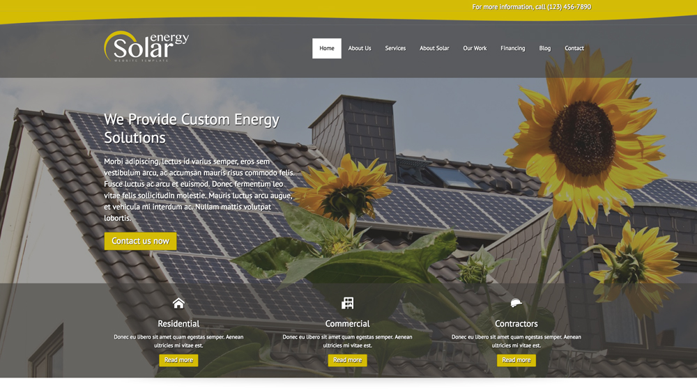 desktop screenshot Green Energy WordPress Theme