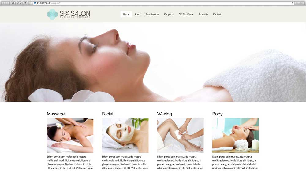 desktop screenshot Spa WordPress Theme