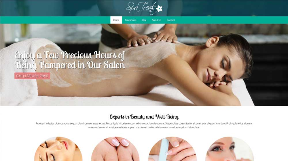 desktop screenshot Spa Treats WordPress Theme