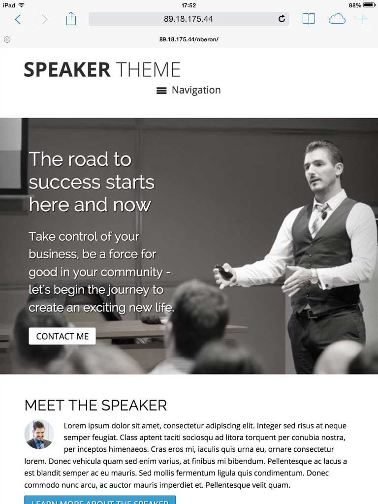 tablet screenshot Speaker WordPress Theme