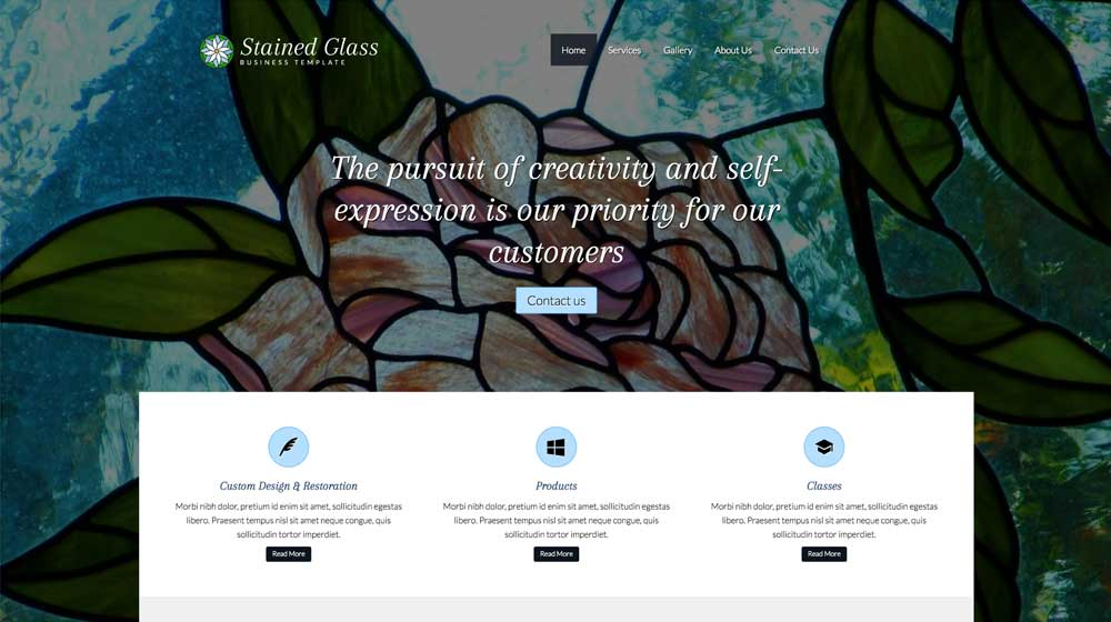 desktop screenshot Stained Glass WordPress Theme
