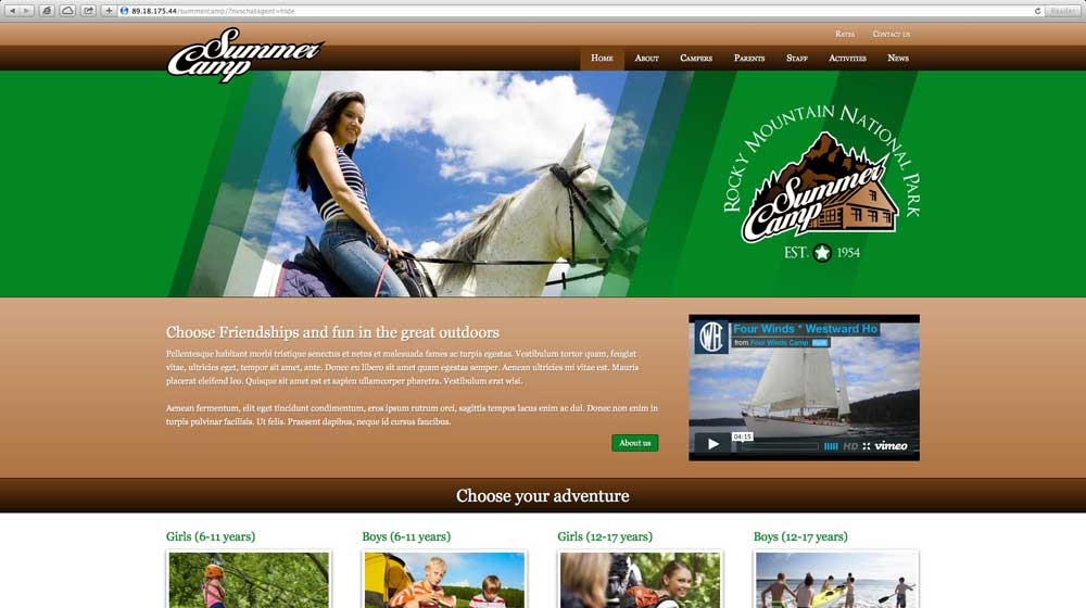 desktop screenshot Summer Camp WordPress Theme