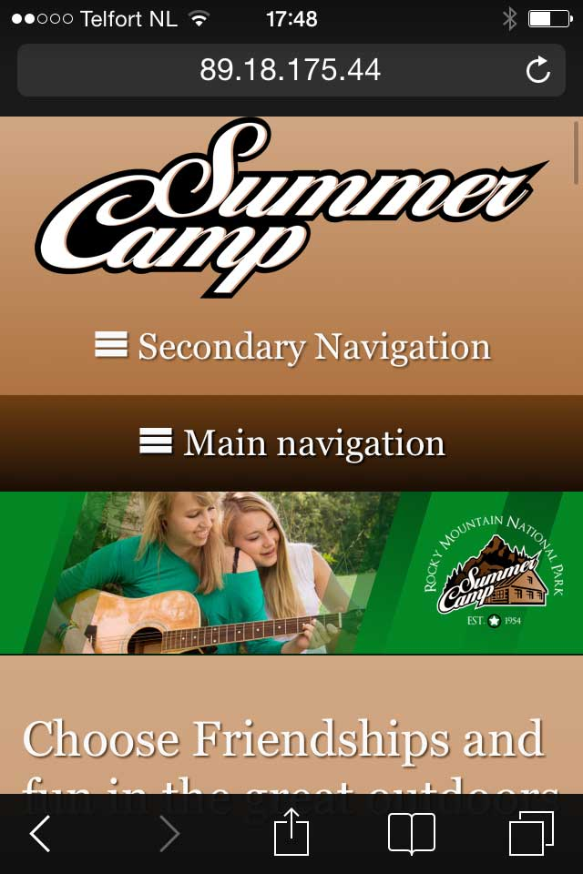 mobile phone screenshot Summer Camp WordPress Theme