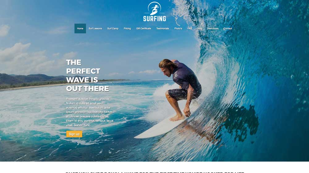 desktop screenshot Surfing WordPress Theme