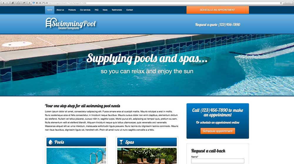 desktop screenshot Swimming Pool WordPress Theme