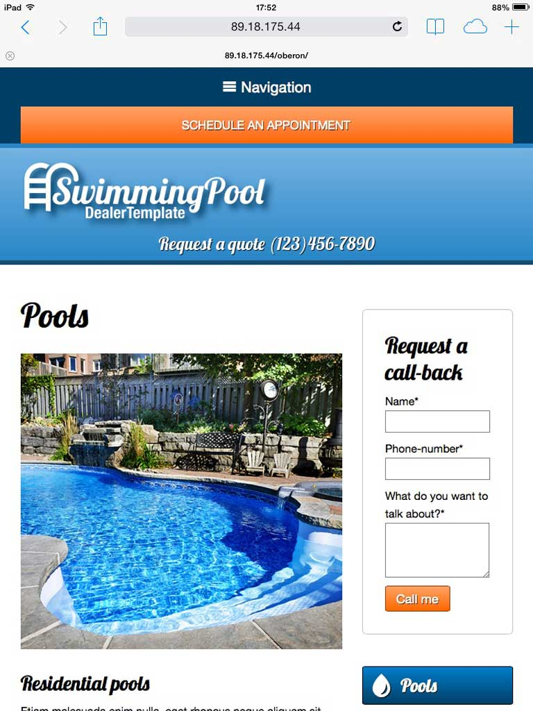 tablet screenshot Swimming Pool WordPress Theme