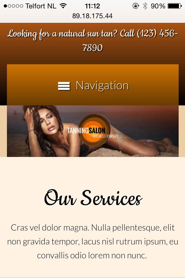 mobile phone screenshot Tanning Salon WordPress Theme