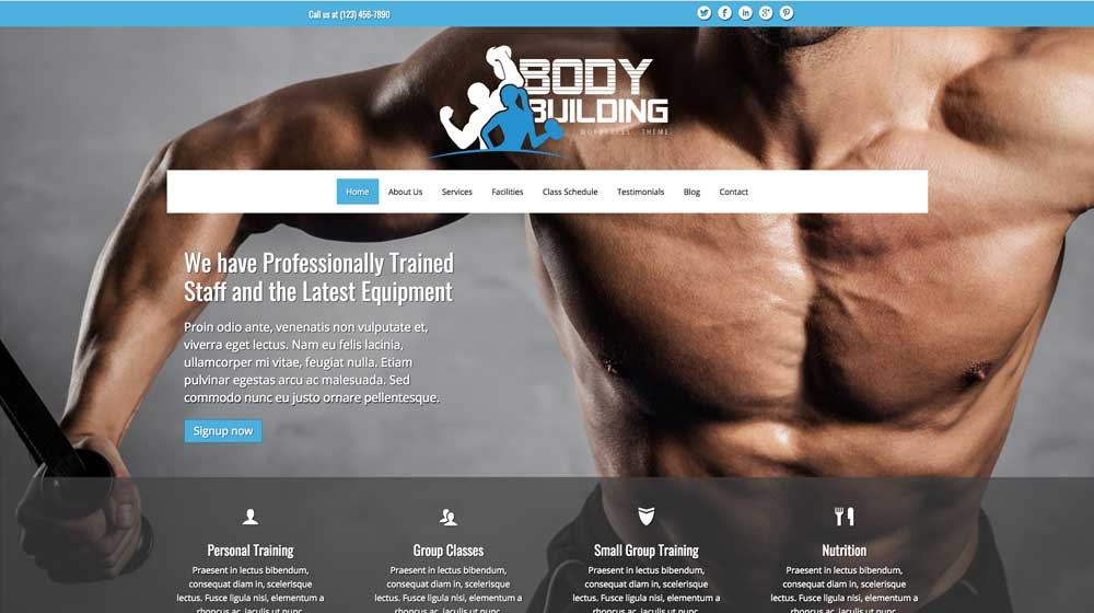 desktop screenshot Bodybuilding WordPress Theme