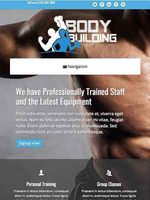 tablet screenshot Bodybuilding WordPress Theme