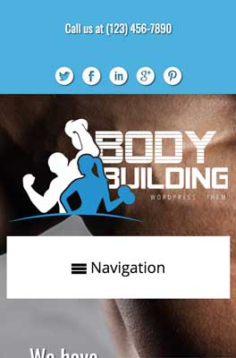 mobile phone screenshot Bodybuilding WordPress Theme