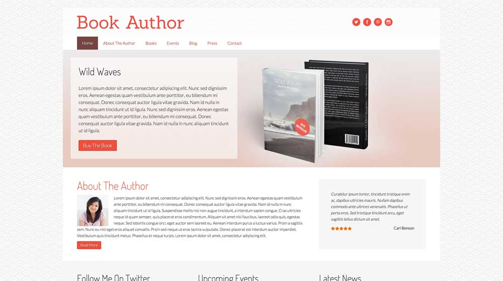 desktop screenshot Book Author WordPress Theme