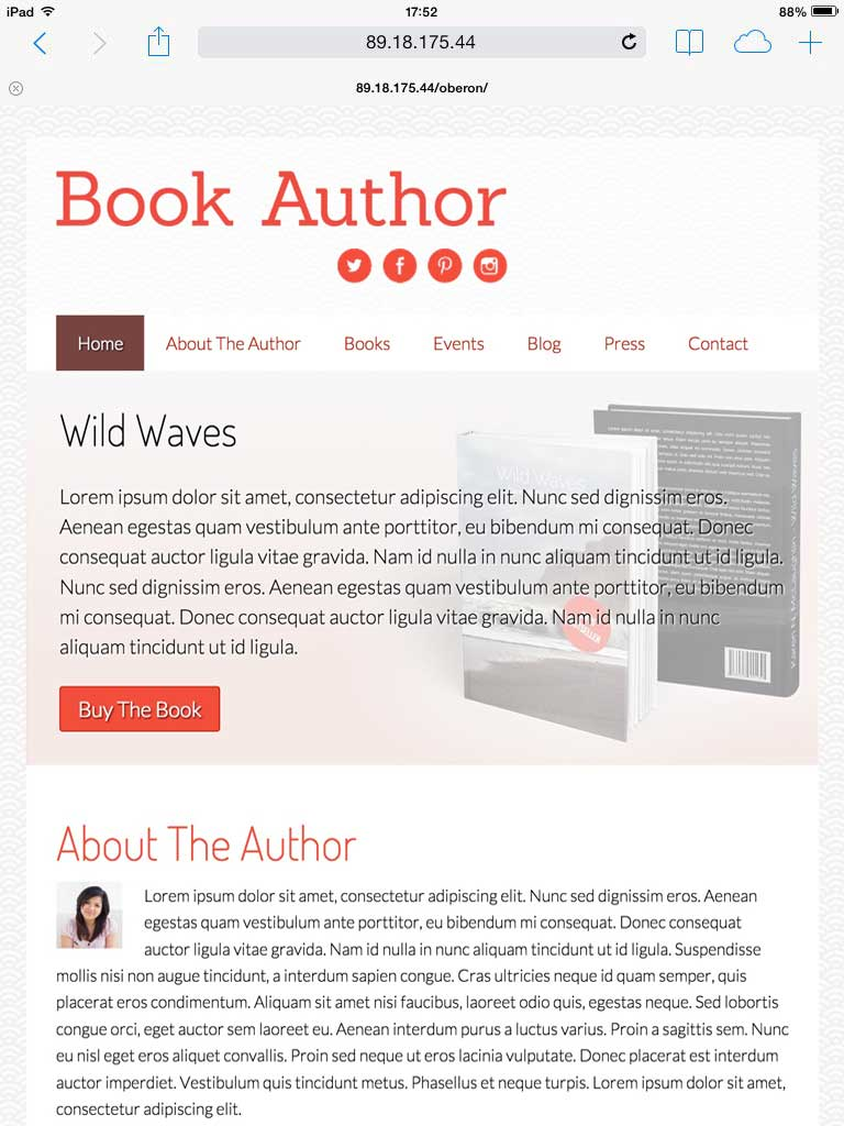 tablet screenshot Book Author WordPress Theme