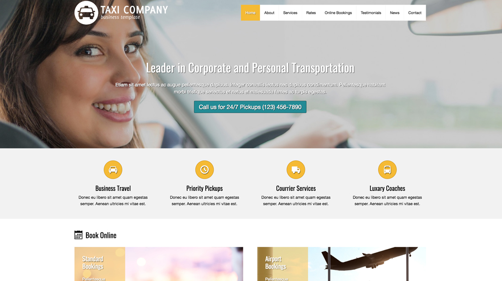 desktop screenshot Taxi Company WordPress Theme