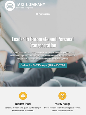 tablet screenshot Taxi Company WordPress Theme