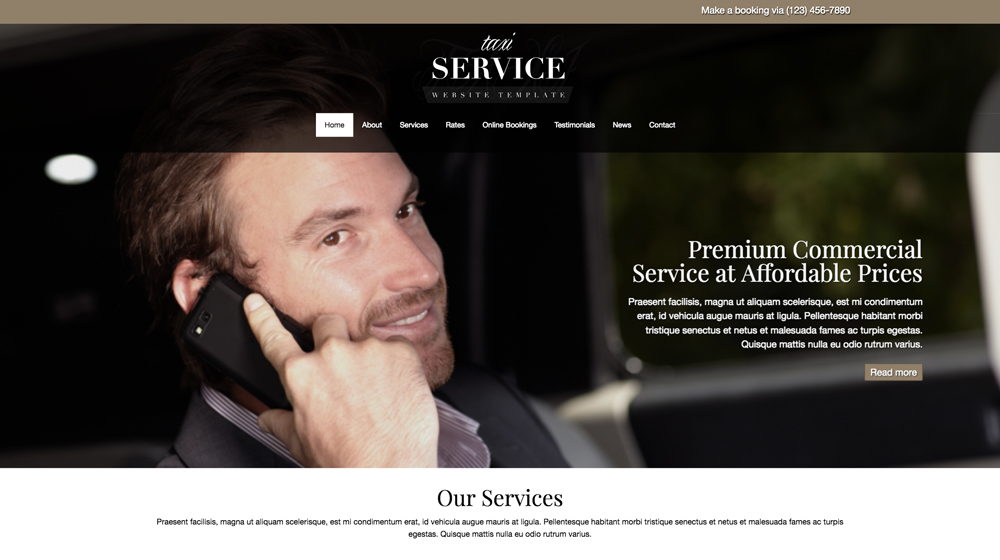 desktop screenshot Taxi Service WordPress Theme