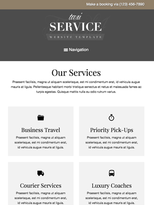 tablet screenshot Taxi Service WordPress Theme