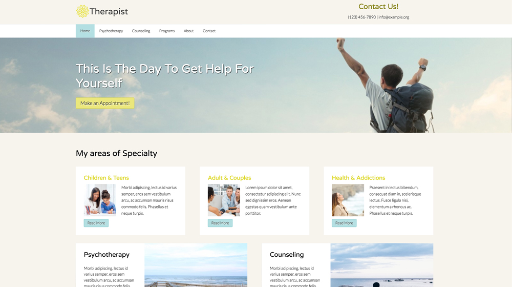 desktop screenshot Counselling WordPress Theme