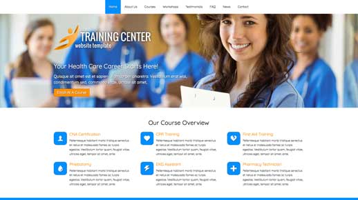 desktop screenshot Training Center WordPress Theme