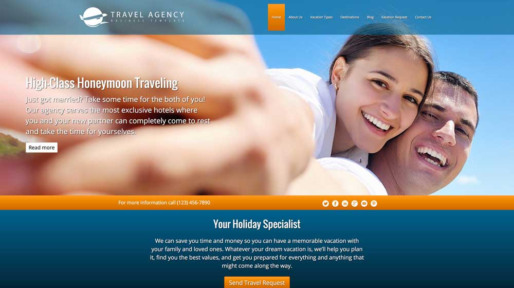 desktop screenshot Travel Agency WordPress Theme