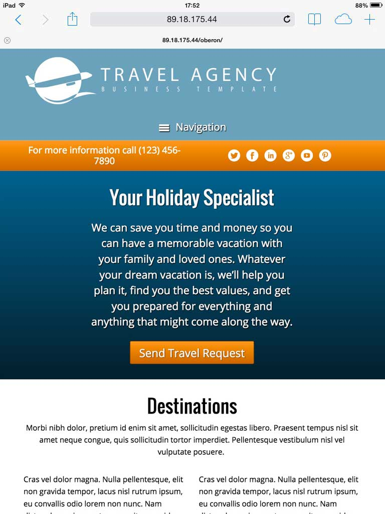tablet screenshot Travel Agency WordPress Theme