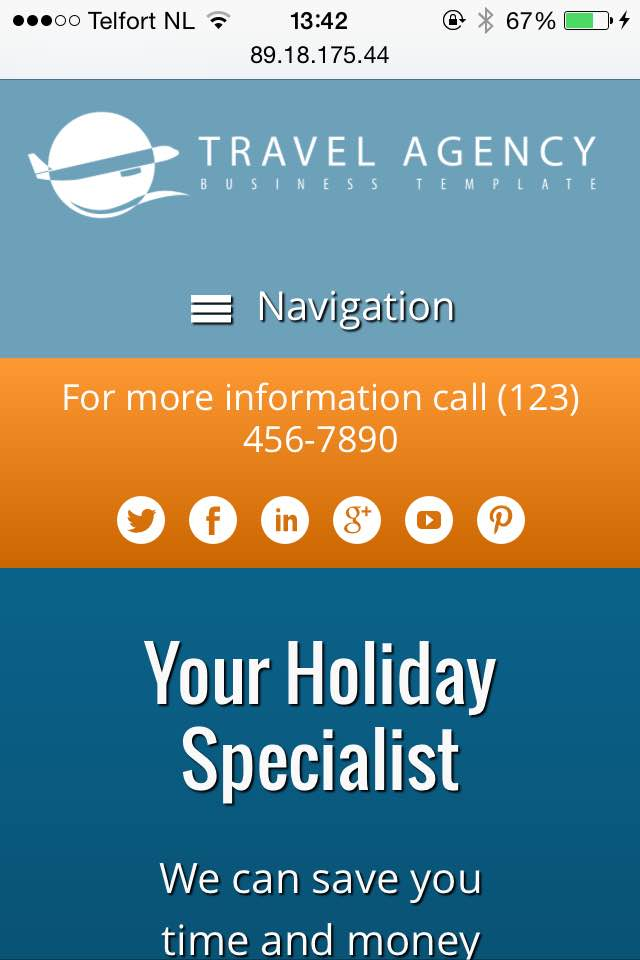 mobile phone screenshot Travel Agency WordPress Theme