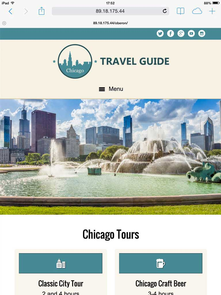 tablet screenshot Travel Guide WordPress Theme
