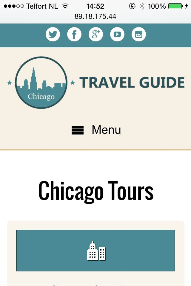 mobile phone screenshot Travel Guide WordPress Theme