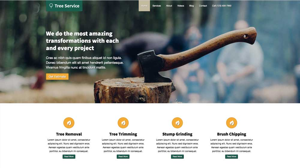desktop screenshot Tree Service WordPress Theme