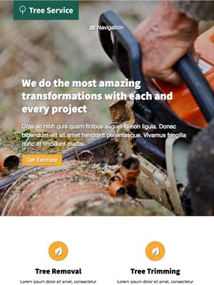 tablet screenshot Tree Service WordPress Theme