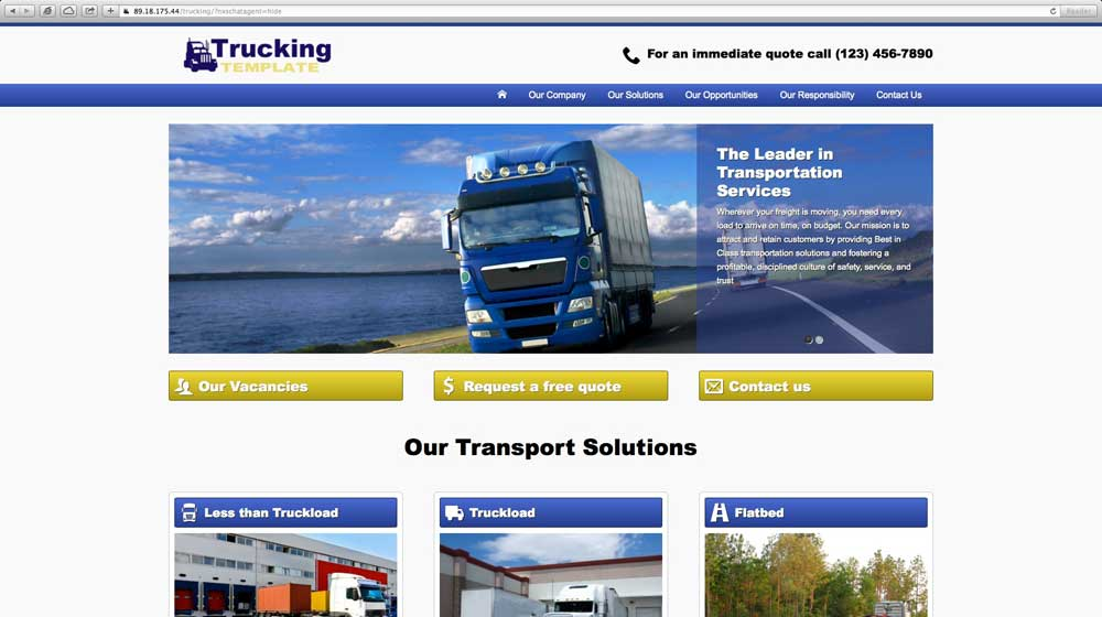 desktop screenshot Trucking Company WordPress Theme