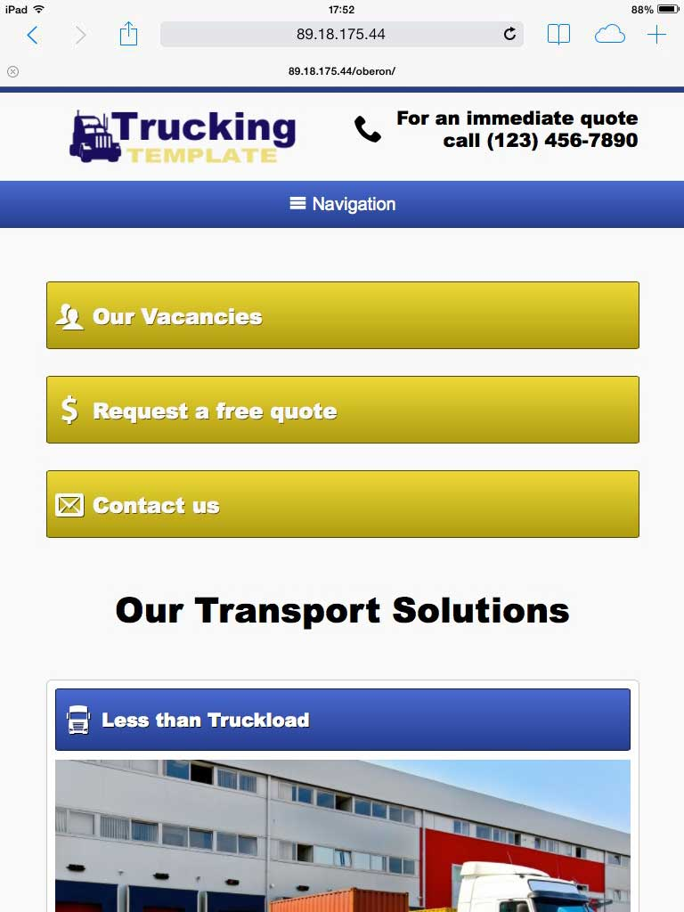 tablet screenshot Trucking Company WordPress Theme