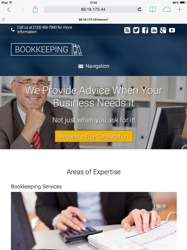 tablet screenshot Bookkeeping WordPress Theme