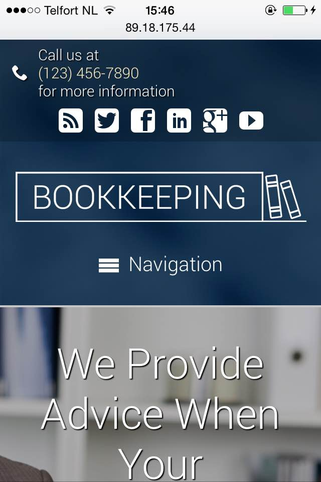 mobile phone screenshot Bookkeeping WordPress Theme