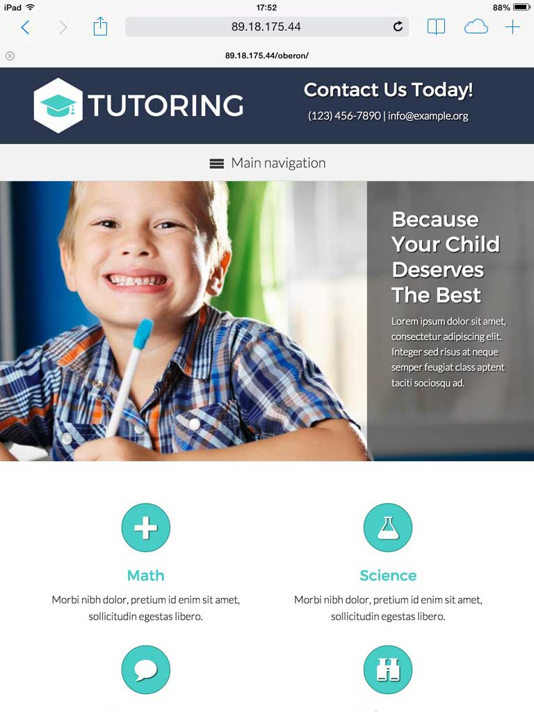 tablet screenshot Tutor WordPress Theme