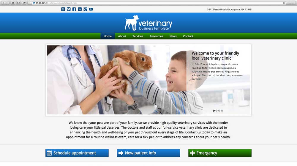 desktop screenshot Veterinary WordPress Theme
