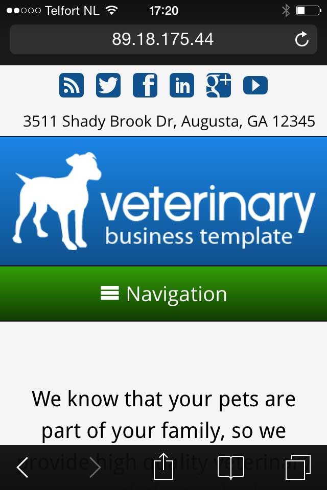 mobile phone screenshot Veterinary WordPress Theme