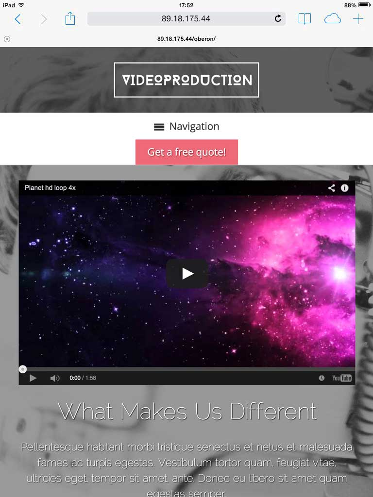 tablet screenshot Video Production WordPress Theme