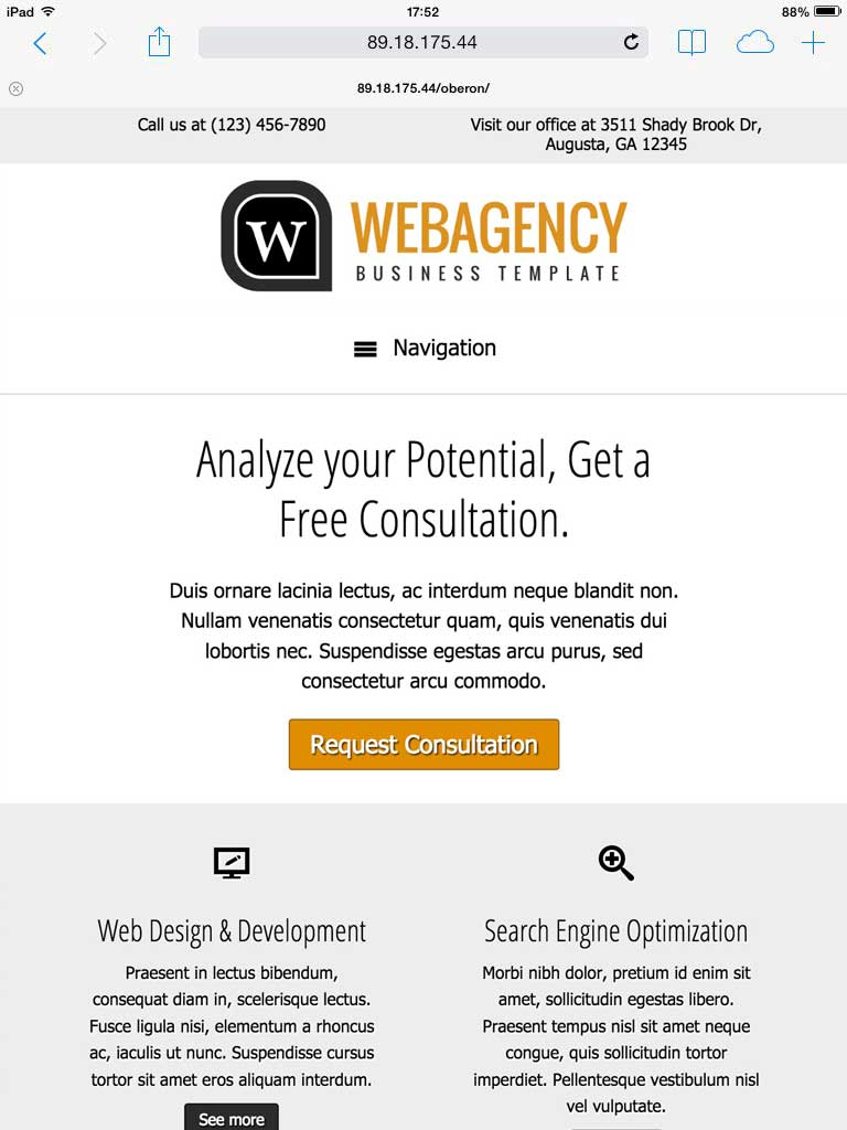 tablet screenshot Web Agency WordPress Theme