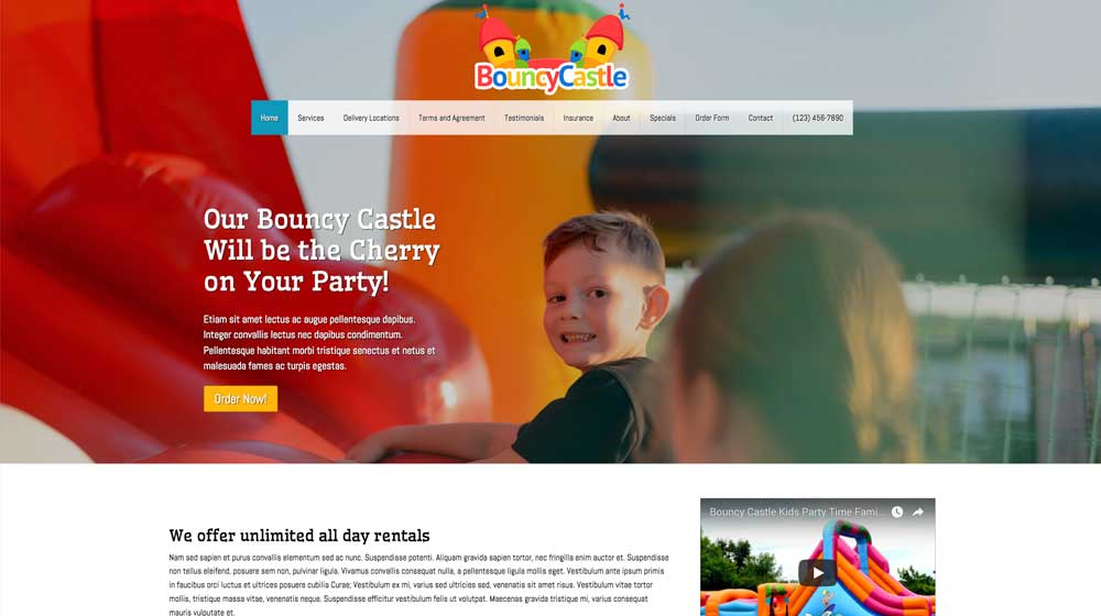 desktop screenshot Bouncy Castle WordPress Theme