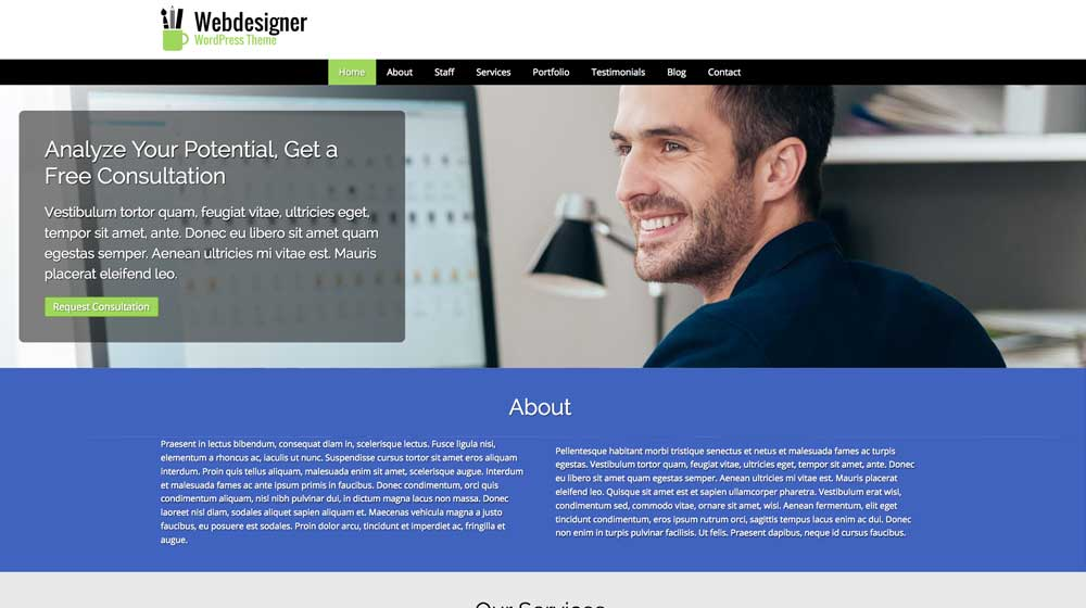 desktop screenshot Web Designer WordPress Theme