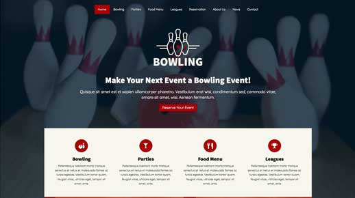 desktop screenshot Bowling WordPress Theme