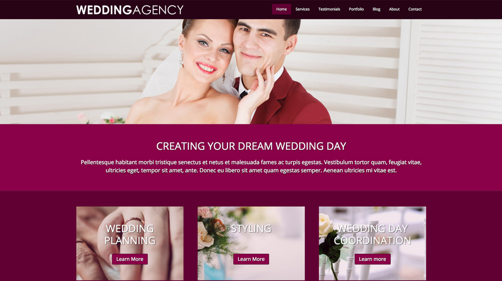 desktop screenshot Wedding Agency WordPress Theme