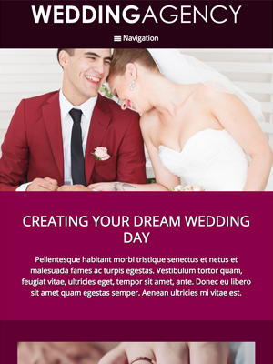 tablet screenshot Wedding Agency WordPress Theme