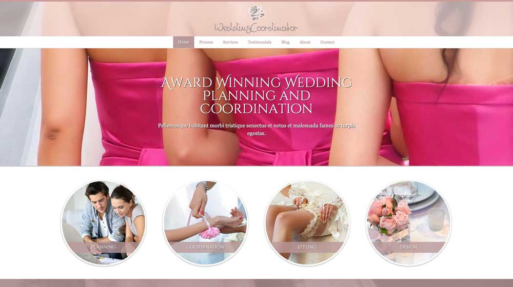 desktop screenshot Wedding Coordinator WordPress Theme