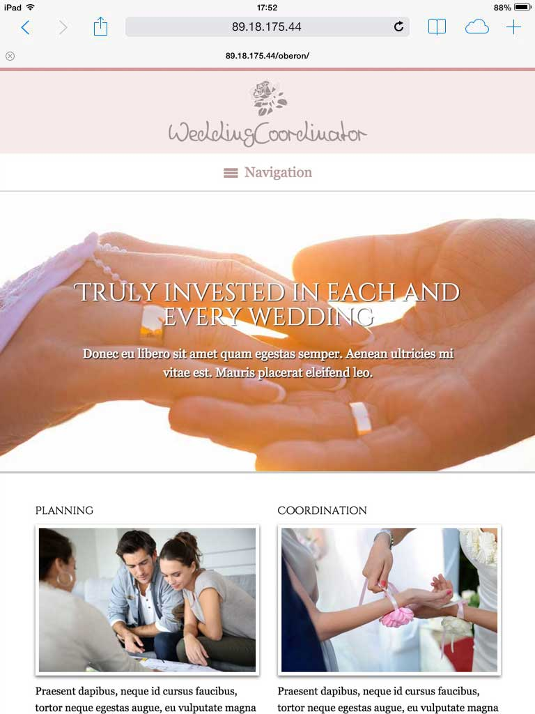tablet screenshot Wedding Coordinator WordPress Theme