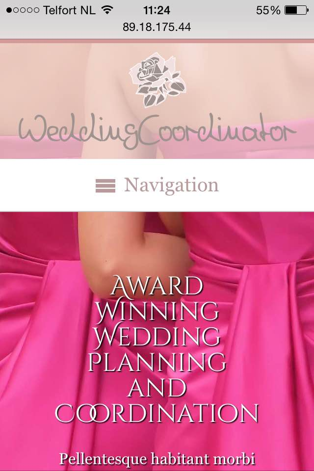 mobile phone screenshot Wedding Coordinator WordPress Theme