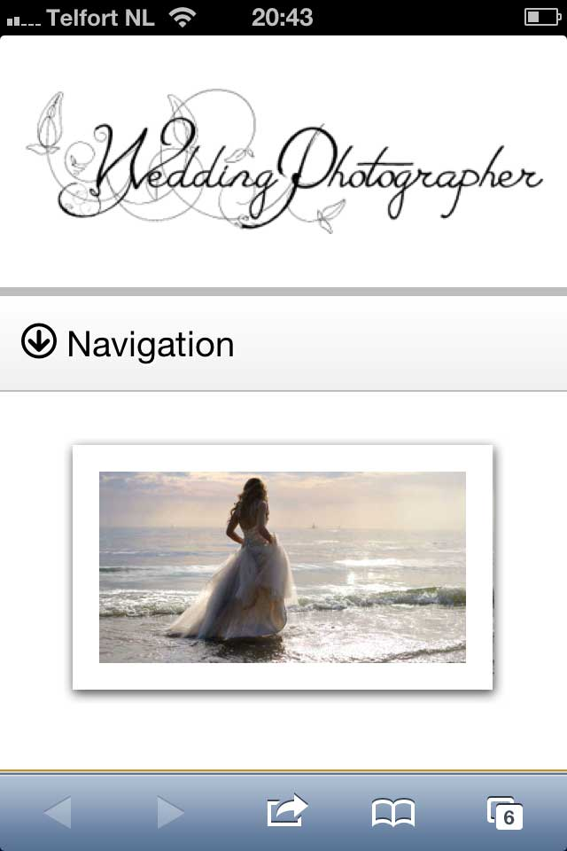 mobile phone screenshot Wedding Photographer WordPress Theme