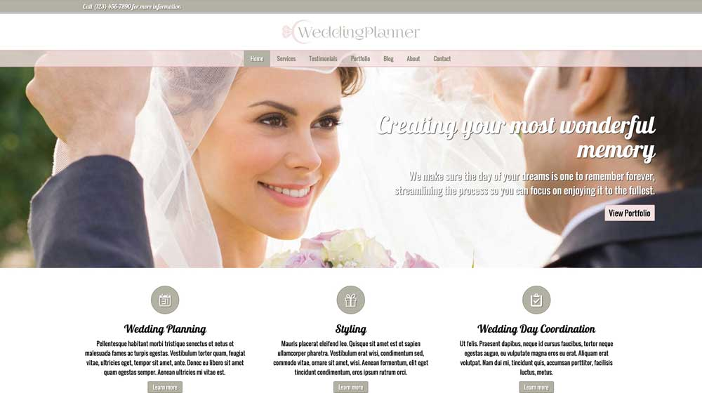 desktop screenshot Wedding Planner WordPress Theme