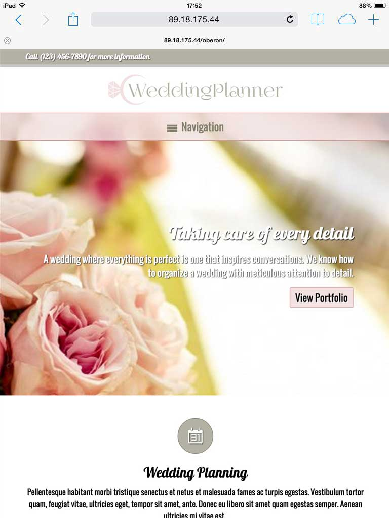 tablet screenshot Wedding Planner WordPress Theme